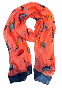 Coral Vintage Finch Bird Print Light Sheer Scarf