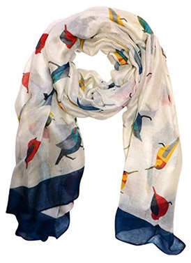 Cream Vintage Finch Bird Print Light Sheer Scarf