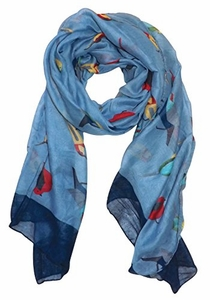 Light Blue Vintage Finch Bird Print Light Sheer Scarf