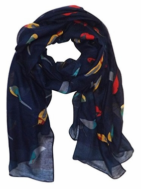 Navy Vintage Finch Bird Print Light Sheer Scarf