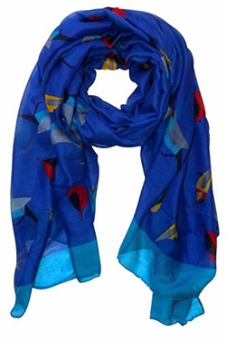 Royal Blue Vintage Finch Bird Print Light Sheer Scarf