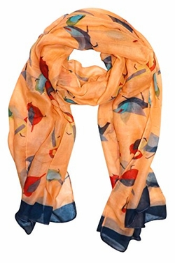 Tangerine Vintage Finch Bird Print Light Sheer Scarf