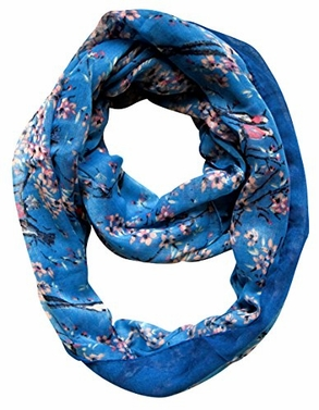 Blue Vintage Floral Blossom Hummingbird Light Sheer Loop Scarf