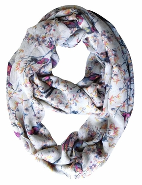 Cream Vintage Floral Blossom Hummingbird Light Sheer Loop Scarf