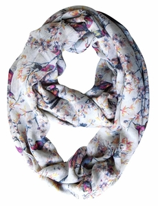 Pretty Vintage Floral Blossom Hummingbird Light Sheer Loop Scarf (Cream Loop)