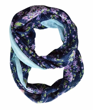 Navy Vintage Floral Blossom Hummingbird Light Sheer Loop Scarf