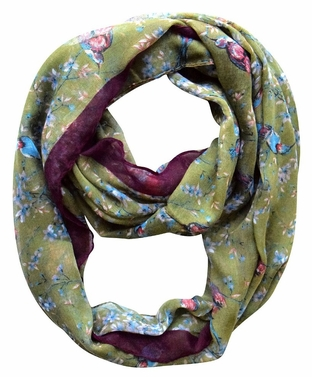 Olive Vintage Floral Blossom Hummingbird Light Sheer Loop Scarf