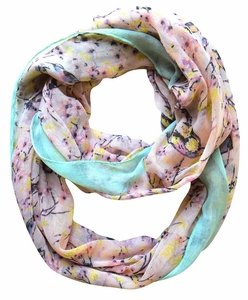 Pink Vintage Floral Blossom Hummingbird Light Sheer Loop Scarf