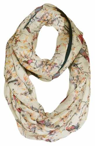 Pretty Vintage Floral Blossom Hummingbird Light Sheer Loop Scarf (Taupe Loop)