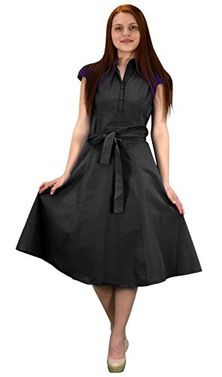 Black Cotton Button Up Vintage Tea Party Swing Dress Fabric Belt