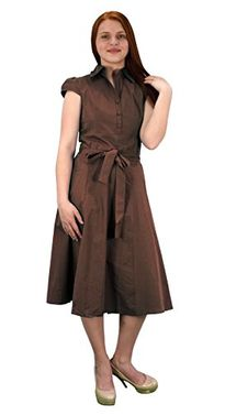 Brown Cotton Button Up Vintage Tea Party Swing Dress Fabric Belt