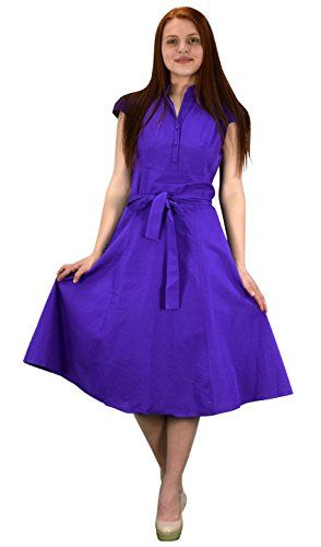 Purple Cotton Button Up Vintage Tea Party Swing Dress Fabric Belt X-Large