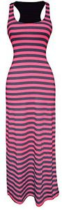 Racerback Summer Maxi Dress Striped Solid Sundress