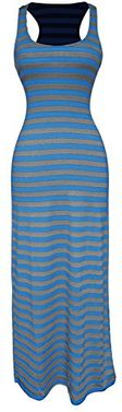 Blue-Grey Summer Maxi Dress Striped Solid Sundress
