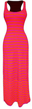 Fuchsia-Orange Summer Maxi Dress Striped Solid Sundress