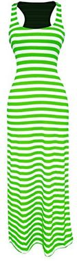 Lime-White Summer Maxi Dress Striped Solid Sundress