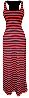 Racerback Summer Maxi Dress Striped Solid Sundress (Small, XL)