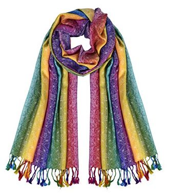 Rainbow Silky Tropical Colorful Exotic Pashmina Wrap Shawl Scarf