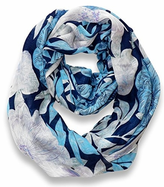 Blue Retro Hawaiian Hibiscus Flower Infinity Loop Scarf