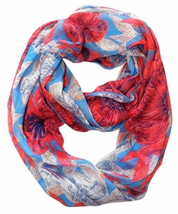 Retro Colorful Faded Hawaiian Hibiscus Flower Infinity Loop Scarf (Blue/Coral)