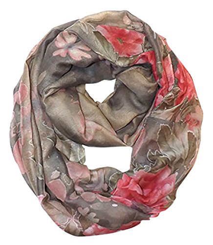 Retro Colorful Faded Hawaiian Hibiscus Flower Infinity Loop Scarf (Faded Dark Grey/Pink)