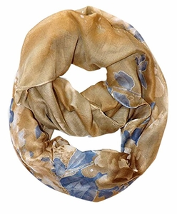 Gold Faded Retro Hawaiian Hibiscus Flower Infinity Loop Scarf
