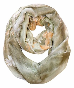Green Faded Retro Hawaiian Hibiscus Flower Infinity Loop Scarf