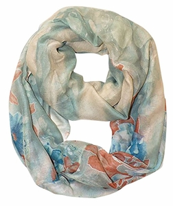 Sea Green Blue Faded Retro Faded Hawaiian Hibiscus Flower Infinity Loop Scarf