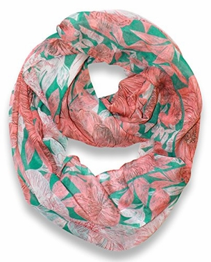 Green-Peach Retro Faded Hawaiian Hibiscus Flower Infinity Loop Scarf