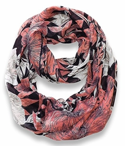 Navy-Peach Retro Faded Hawaiian Hibiscus Flower Infinity Loop Scarf