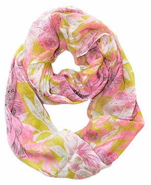 Pink-Green Retro Faded Hawaiian Hibiscus Flower Infinity Loop Scarf