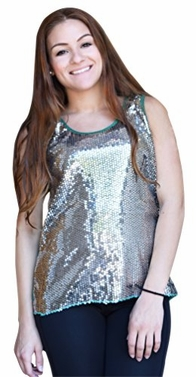 Silver-Green Retro High Low Sequin Sheer Sleeveless Top (Medium)