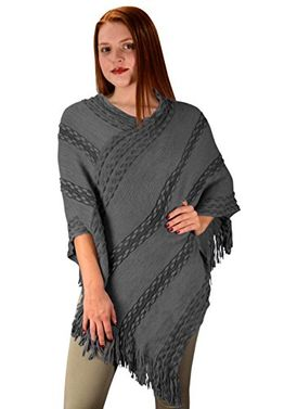 Retro Style Thick Knit Cozy Winter Poncho Sweater With Fringes
