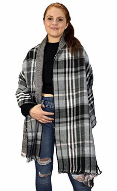 Reversible Oversized Plaid Tartan Herringbone Blanket Scarf
