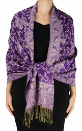Grape Reversible Paisley Floral Shawl