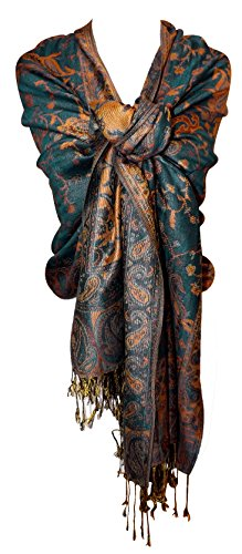Green Gold Reversible Paisley Pashmina Shawl Wrap