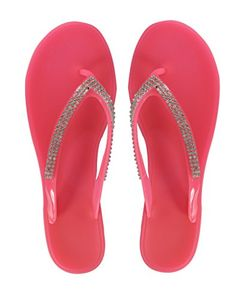 Pink Rhinestone Beaded Strappy Beach Sandals Flip Flops