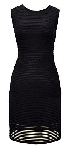 Black Ribbed Bodycon Sleeveless Solid Color Knee Length Dress