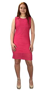 Fuchsia Ribbed Bodycon Sleeveless Solid Color Knee Length Dress