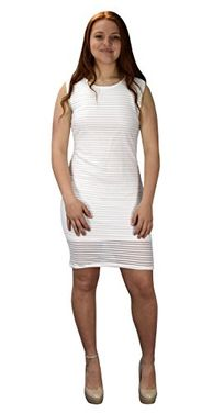 White Ribbed Bodycon Sleeveless Solid Color Knee Length Dress