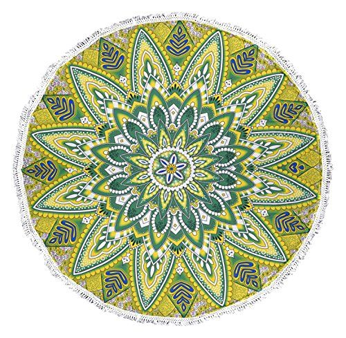 Roundie Beach Towel Yoga Mats Terry Cotton with Fringe Tassels - Many Designs & Colors