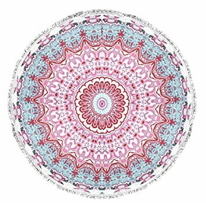 Peach Couture Roundie Beach Towel Yoga Mats Thick Terry Cotton with Fringe Tassels - Light Pink
