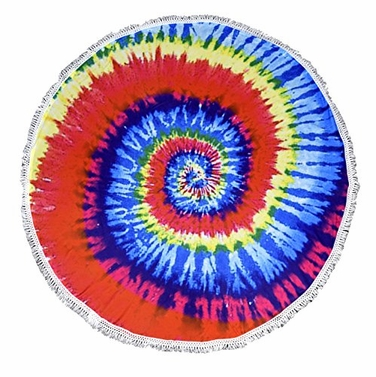 Rainbow Roundie Beach Towel Yoga Mats Thick Terry Cotton with Fringe Tassels - Many Designs & Colors