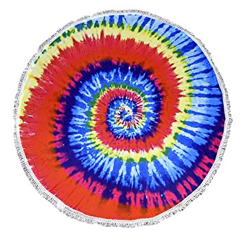 Peach Couture Roundie Beach Towel Yoga Mats Thick Terry Cotton with Fringe Tassels - Rainbow