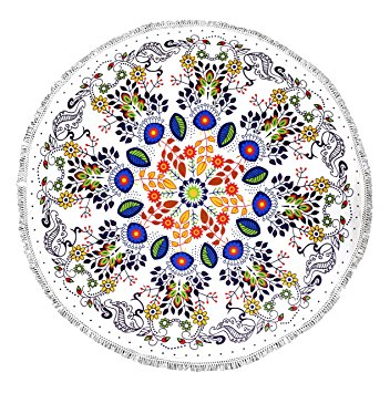 White Floral Roundie Beach Towel Yoga Mats Thick Terry Cotton with Fringe Tassels