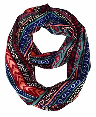 Neon Red Coral Paisley Floral Bohemian Tribal Infinity Scarf