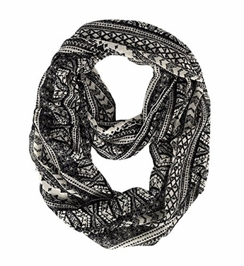 Peach Couture Scarves for Women Tribal Scarf Floral Scarf Bohemian Black Infinity Scarf Circe Scarf