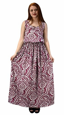 Red Scoop Neck Smocked Waist Bohemian Print Zippered Back Maxi Dress X-Large