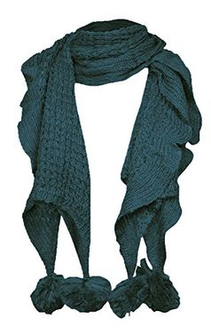 Serene Ruffled Soft and Warm Knit Scarf With Pom Poms