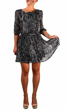 Black White Zebra Chevron Casual Chiffon Cocktail Short Mini Dress (Large)